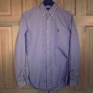 Men's Polo purple striped button down size small